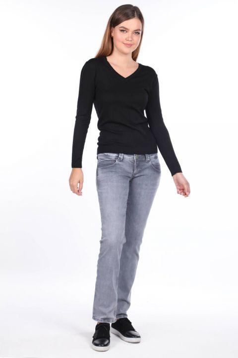 Kadın Çift Gri Cepli Düşük Bel Jean Pantolon
