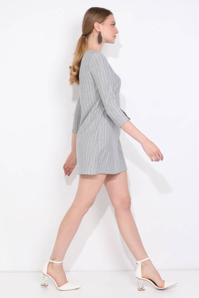 MARKAPIA WOMAN - Kadın Gri Çizgili Fakir Kol Mini Elbise (1)