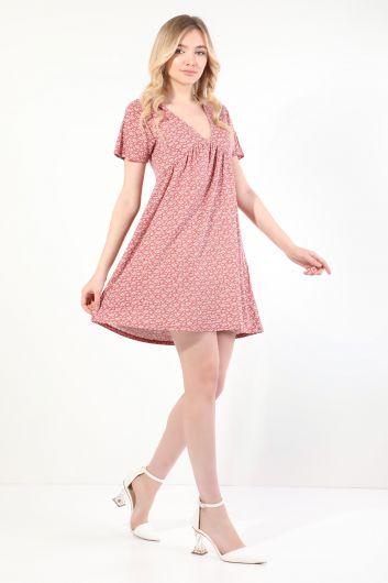 MARKAPIA WOMAN - Kadın Gül Kurusu V Yaka Büzgülü Kısa Kollu Elbise (1)