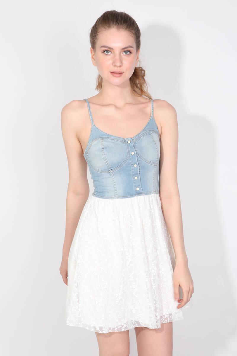 Kadın Güpürlü Askılı Jean Elbise
