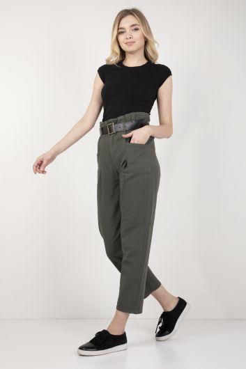 MARKAPİA WOMAN - Kadın Haki Belden Büzgülü Kemerli Pantolon (1)