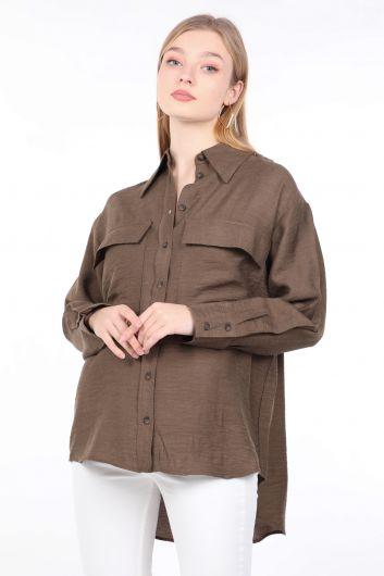Kadın Haki Cepli Basic Gömlek - Thumbnail
