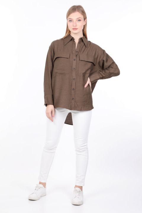 Kadın Haki Cepli Basic Gömlek