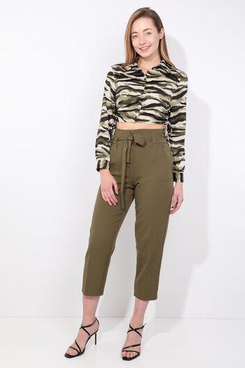 Kadın Haki Kuşaklı Yüksek Bel Kumaş Pantolon - Thumbnail