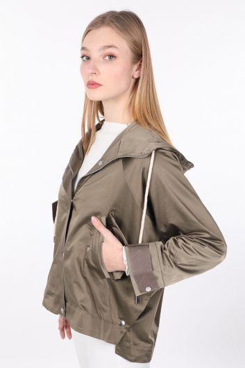 MARKAPIA WOMAN - Women's Khaki Oversize Hooded Jacket (1)