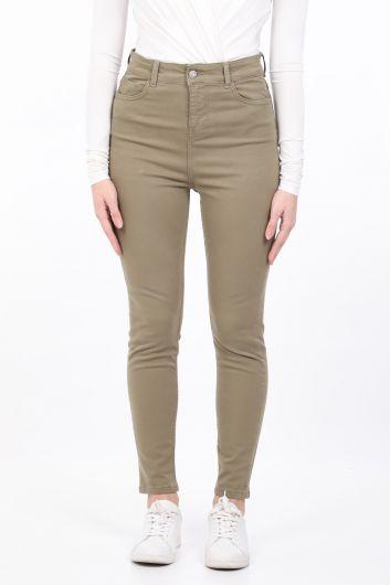 Kadın Haki Slim Fit Jean Pantolon - Thumbnail