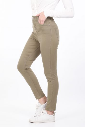 BLUE WHITE - Women's Khaki Slim Fit Jean Trousers (1)