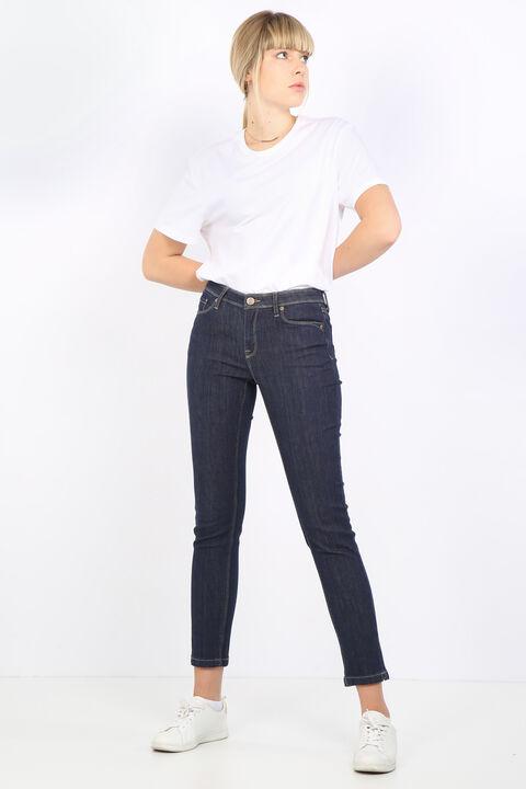Kadın İndigo Düz Jean Pantolon