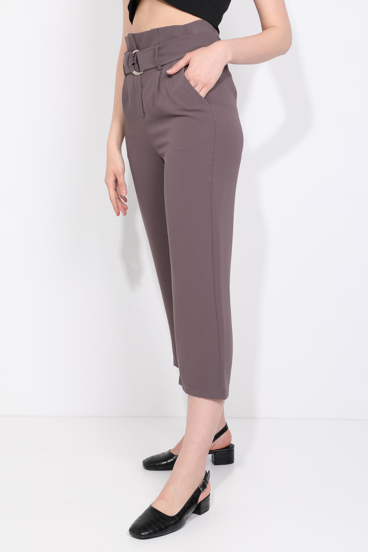 Kadın Kemerli Bol Paça Kumaş Pantolon Vizon