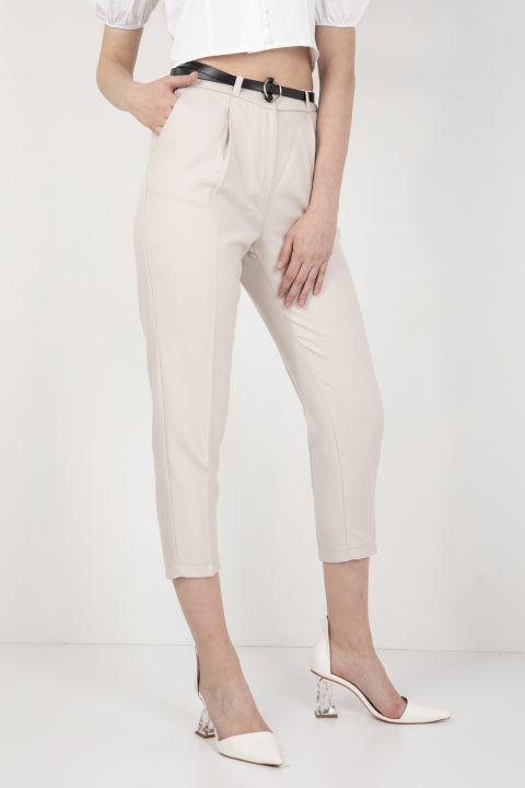 Kadın Kemerli Kumaş Pantolon Taş