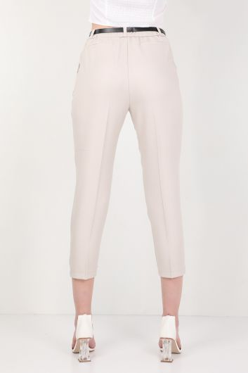 Kadın Kemerli Kumaş Pantolon Taş - Thumbnail