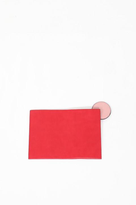 Kadın Kırmızı Deri Görünümlü El Çantası