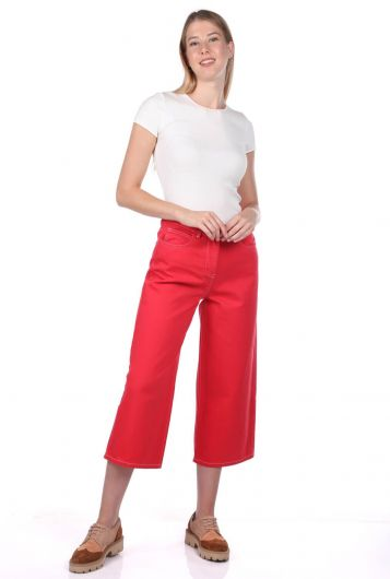Kadın Kırmızı Geniş Paça Jean Pantolon - Thumbnail