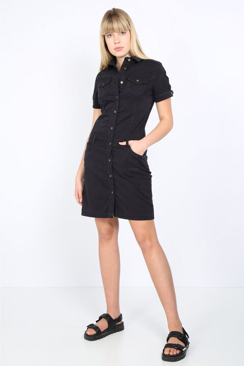 Kadın Koyu Lacivert Düğmeli Jean Elbise