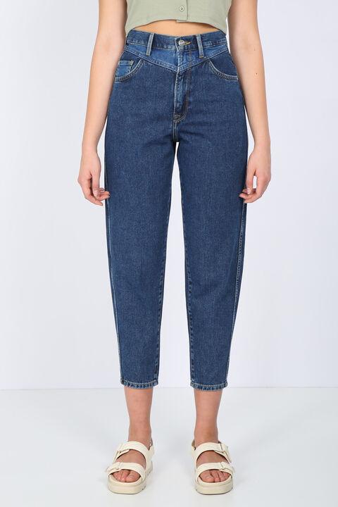 Kadın Koyu Mavi Bel Detaylı Mom Jean Pantolon