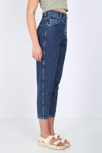 BLUE WHITE - Kadın Koyu Mavi Bel Detaylı Mom Jean Pantolon (1)