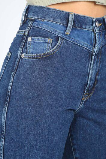 Kadın Koyu Mavi Bel Detaylı Mom Jean Pantolon - Thumbnail