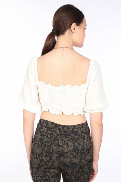 MARKAPIA WOMAN - Kadın Krem Balon Kol Crop Bluz (1)