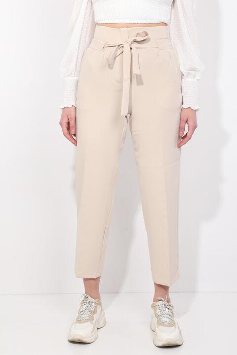 Kadın Krem Kuşaklı Yüksek Bel Kumaş Pantolon