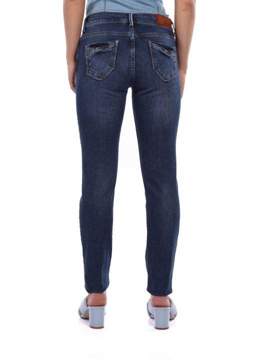Kadın Lacivert Düşük Bel Jean Pantolon