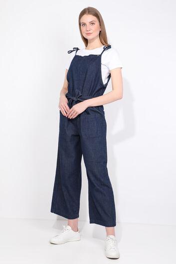 Kadın Lacivert Oversize Jean Tulum Pantolon - Thumbnail