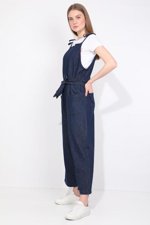 Kadın Lacivert Oversize Jean Tulum Pantolon