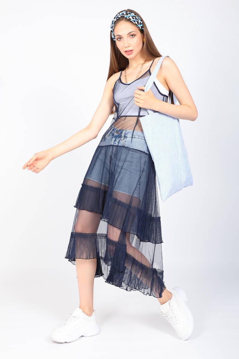 Kadın Lacivert Tül Elbise