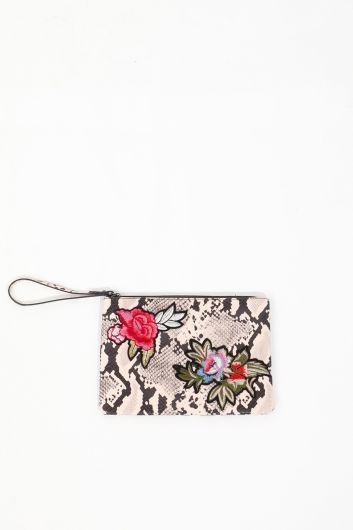 Kadın Leopar Desenli Çiçek Aplikeli Deri El Çantası - Thumbnail