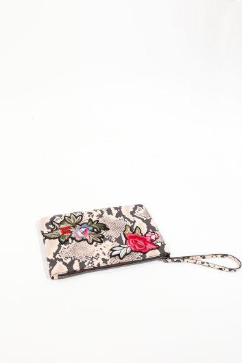 MARKAPIA WOMAN - Kadın Leopar Desenli Çiçek Aplikeli Deri El Çantası (1)