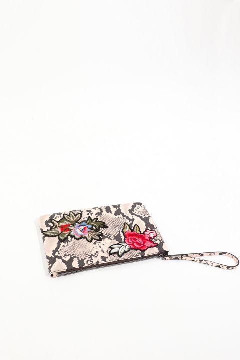 Kadın Leopar Desenli Çiçek Aplikeli Deri El Çantası