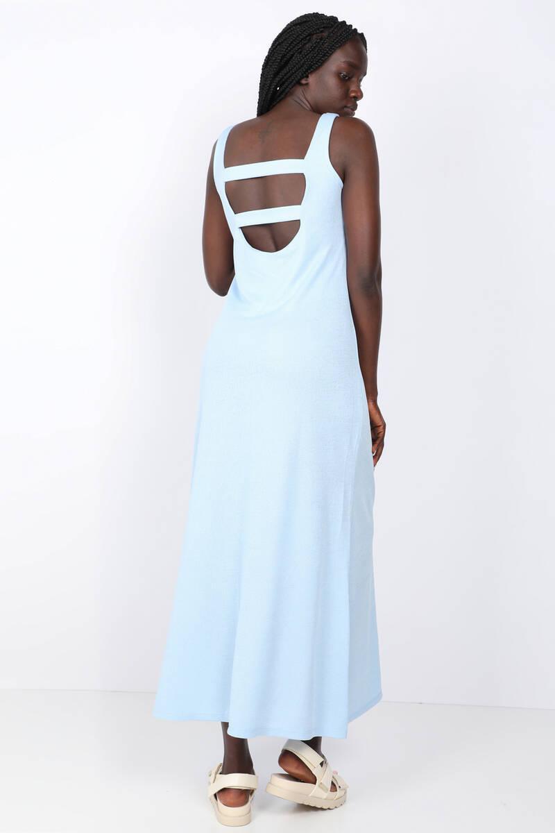 Kadın Mavi Askılı Sırt Dekolteli Maxi Elbise