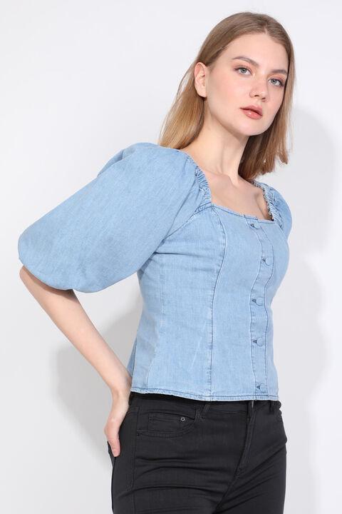 Kadın Mavi Balon Kol Düğmeli Denim Bluz