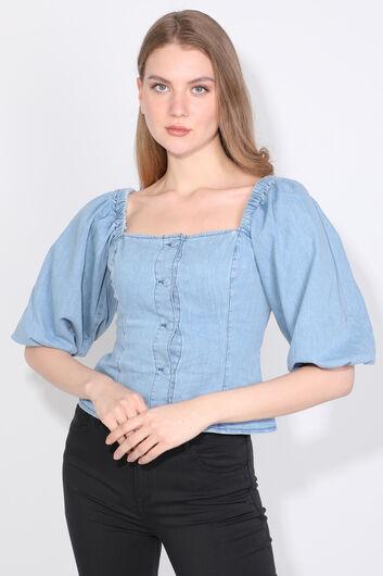 Kadın Mavi Balon Kol Düğmeli Denim Bluz - Thumbnail