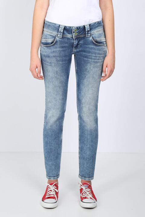 Kadın Mavi Çift Cep Detaylı Düşük Bel Jean Pantolon