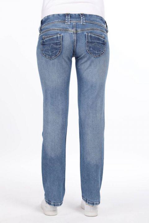 Kadın Mavi Çift Düğmeli Jean Pantolon
