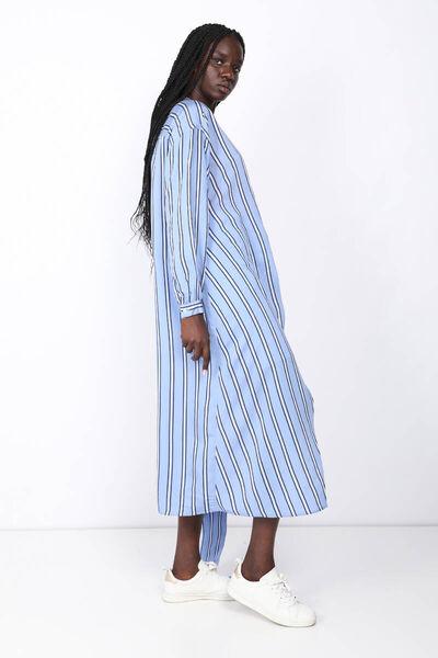 BLUE WHITE - Kadın Mavi Çizgili Bağlamalı Elbise (1)