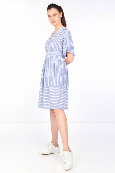 MARKAPIA WOMAN - Kadın Mavi Çizgili V Yaka Büzgülü Elbise (1)
