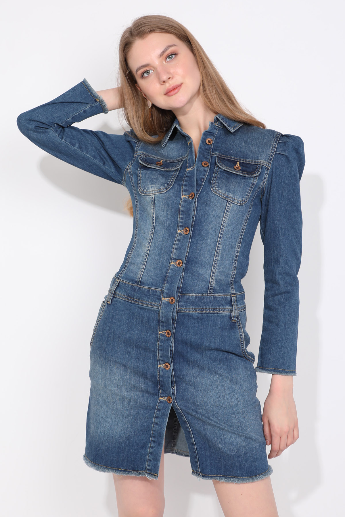 Kadın Mavi Düğmeli Kolu Pile Detaylı Jean Elbise