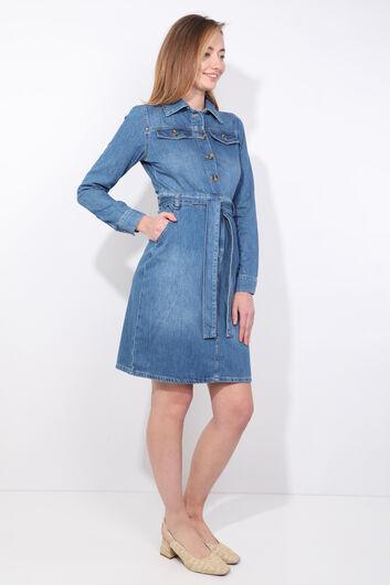 Kadın Mavi Kemerli Uzun Kol Jean Elbise - Thumbnail