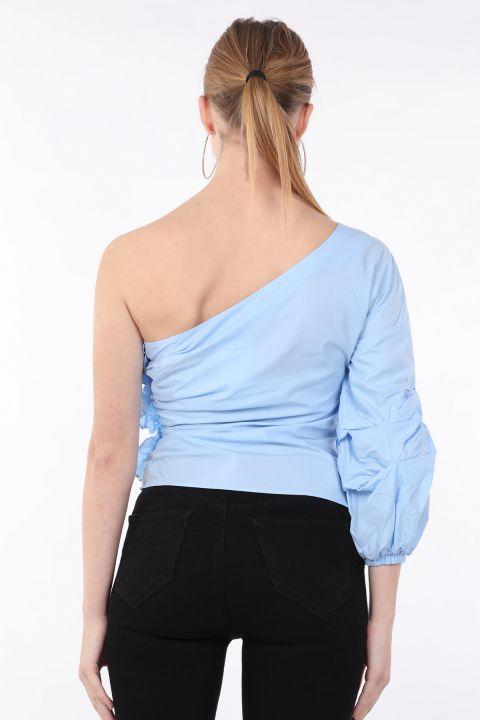Kadın Mavi Tek Kollu Fırfırlı Bluz