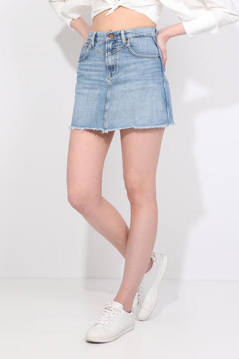 Kadın Mavi Ucu Kesik Mini Jean Etek