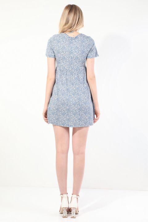 Kadın Mavi V Yaka Büzgülü Kısa Kollu Elbise