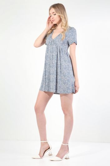 MARKAPIA WOMAN - Kadın Mavi V Yaka Büzgülü Kısa Kollu Elbise (1)