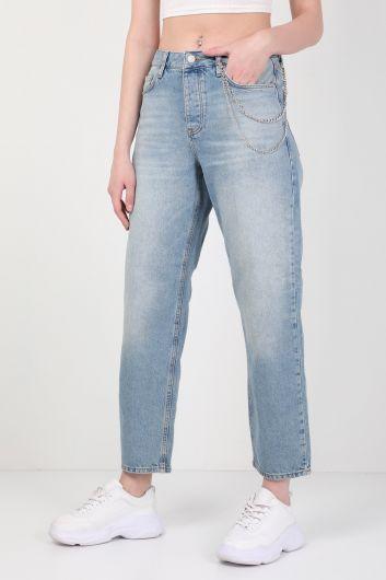 BLUE WHITE - بنطلون جينز نسائي واسع الساق أزرق سلسلة (1)