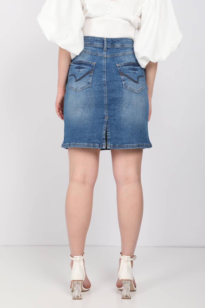 Kadın Mini Jean Etek Açık Mavi