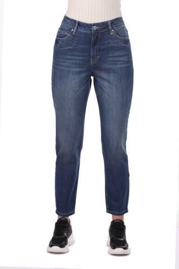 BLUE WHITE - بنطلون جينز موم فيت للنساء (1)