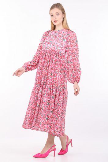 MARKAPIA WOMAN - Женское розовое длинное шифоновое платье с цветочным принтом (1)