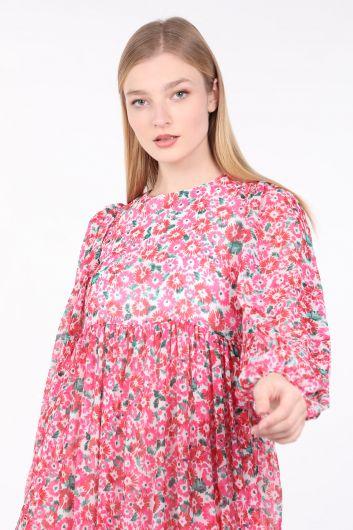 Kadın Pembe Çiçekli Uzun Şifon Elbise - Thumbnail