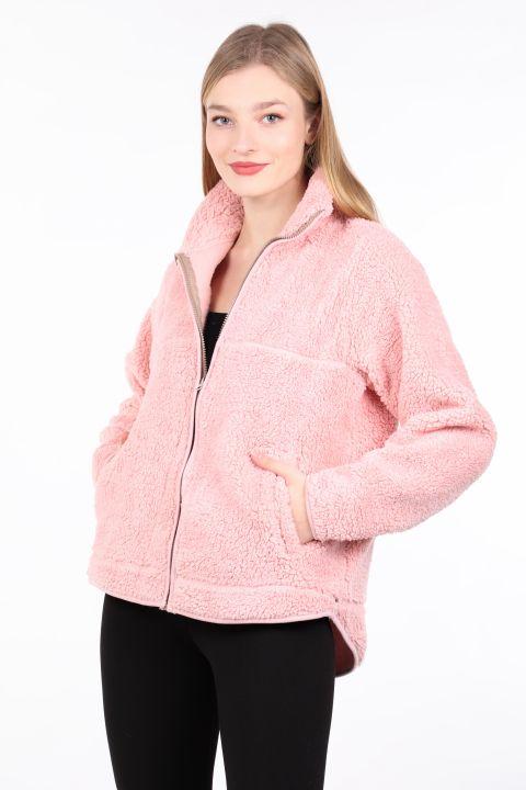 Kadın Pembe Fermuarlı Peluş Sweatshirt