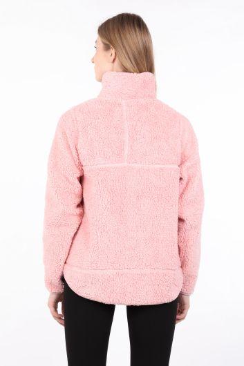 Kadın Pembe Fermuarlı Peluş Sweatshirt - Thumbnail